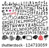 Alphabet. Hand drawn letters and numbers. The letters are drawn with a felt-tip or flip chart pen. - stock photo