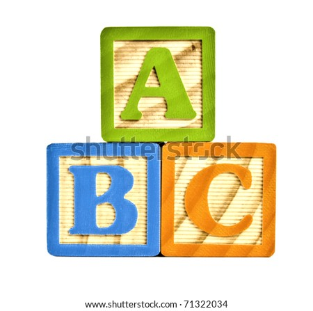 Alphabet in block letters isolated on  white background - ABC - stock photo