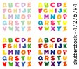 Alphabet in 4 Color Palettes: pastels, beach, primary & jewel tones. Original letter design for scrapbooks, albums, crafts & back to school projects. - stock vector