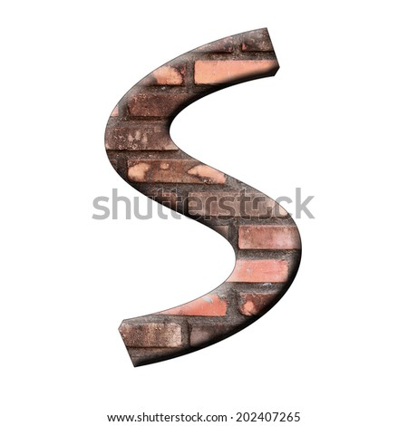 Alphabet in old red  brick texture on white background