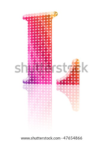 Alphabet in pop art style. Includes punctuation. Letter L - stock photo