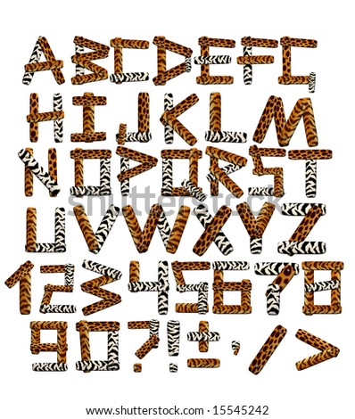 Alphabet in style of a safari