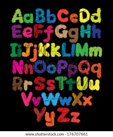 Alphabet kids doodle colored hand drawing in black background - stock photo