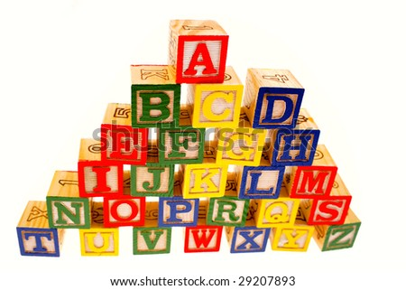 Alphabet learning blocks on white background - stock photo