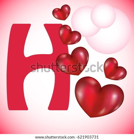 H Letter In Heart H Is For Heart 스톡 ...