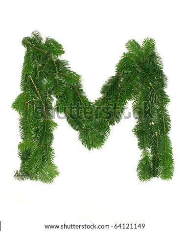 "Alphabet Letter ""M"" made of Abies branches"