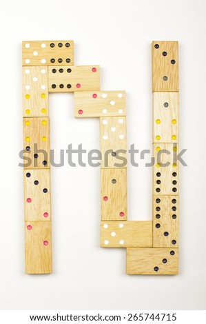 Alphabet letter N arranged from wood dominoes tiles isolated