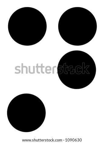 alphabet letter n in braille - stock photo