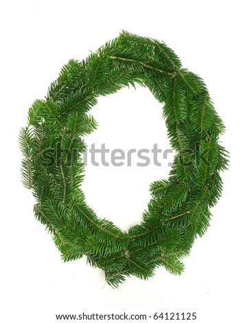 """Alphabet Letter """"O"""" made of Abies branches - stock photo"""