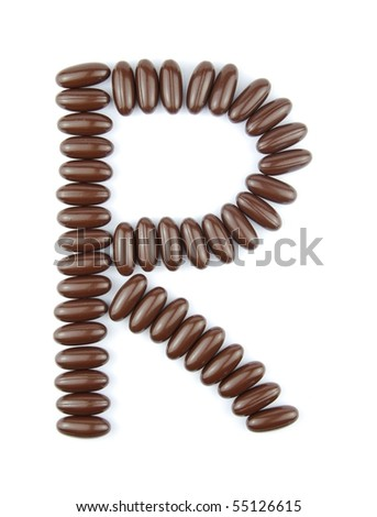 alphabet letter R with chocolate candies (isolated on white background)
