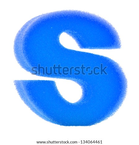 Alphabet Letter sponge S on white background with work path