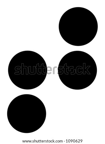 alphabet letter t in braille - stock photo