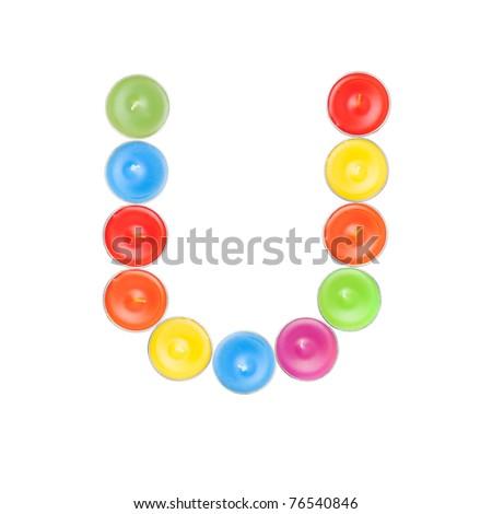 Alphabet letter using candles. Letter U - stock photo