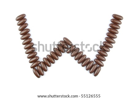 alphabet letter W with chocolate candies (isolated on white background)