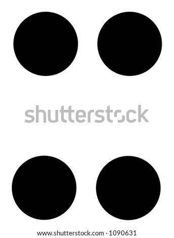 alphabet letter x in braille - stock photo