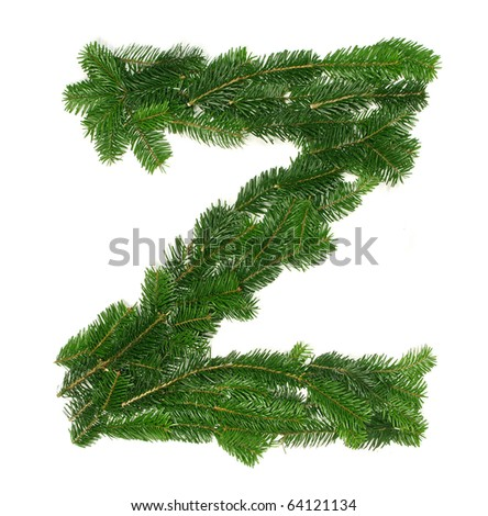 "Alphabet Letter ""Z"" made of Abies branches"