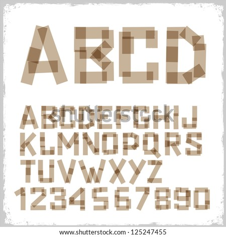 Alphabet letters and numbers made from adhesive tape.Raster version - stock photo