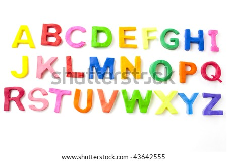 alphabet letters from childrens modelling clay or play doh - stock photo
