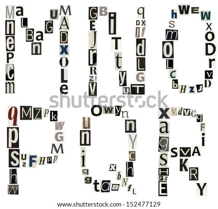 alphabet letters made of newspaper, magazine - stock photo