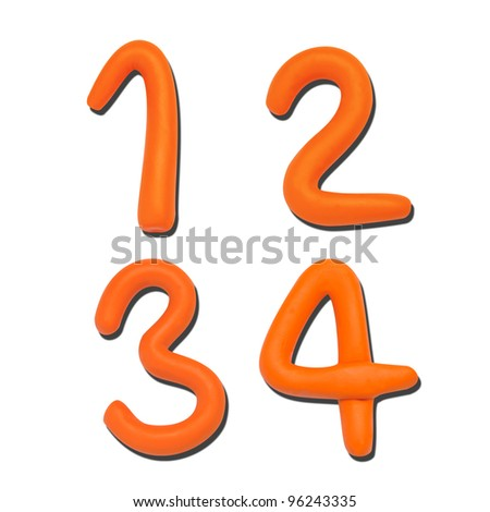 Alphabet Letters Number Plasticine on white background (1 2 3 4)