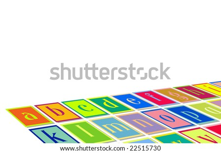 Alphabet Letters On Floor With Copyspace - stock photo
