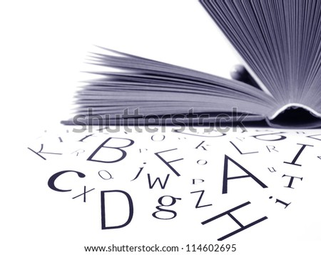 Alphabet letters that seem out of a book - stock photo