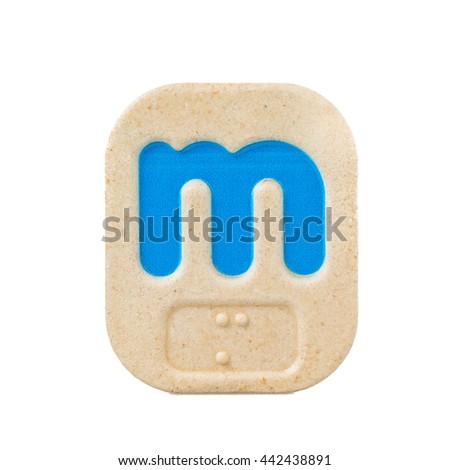 alphabet m on white background  with Braille. - stock photo