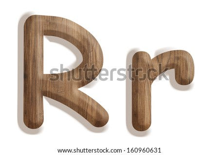 Alphabet made from wood, isolated on white background - stock photo