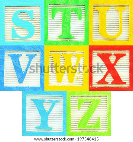 Alphabet made of colorful wooden block letters - stock photo