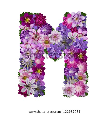 S Alphabet In Flowers Colorful Flower Letter Stock Photos, Illustrations, and Vector Art