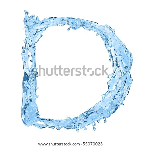 alphabet made of frozen water - the letter D - stock photo