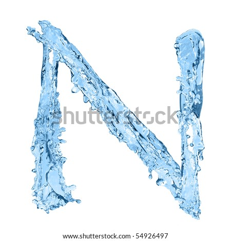 alphabet made of frozen water - the letter N - stock photo