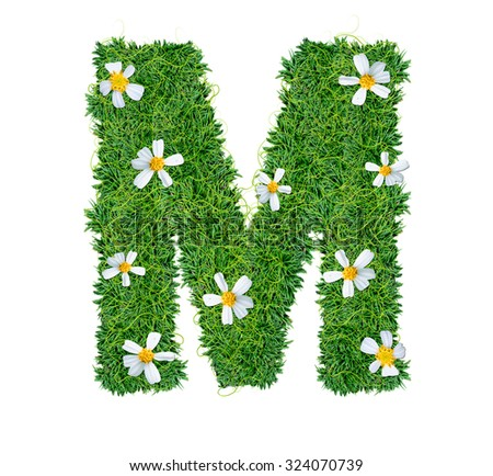 Alphabet made of green grass decorate with vine and flora isolated on white.