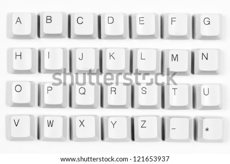 alphabet made of letters from computer keyboard white background