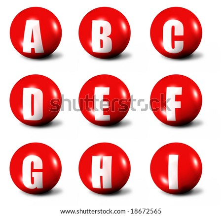 alphabet made of red 3D spheres - set one - stock photo