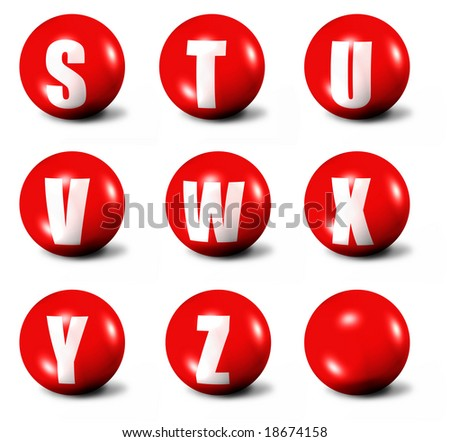 alphabet made of red 3D spheres - set three, letters from S to Z - stock photo