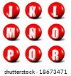 alphabet made of red 3D spheres - set two, letters from J to R - stock photo
