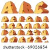 Alphabet made of stone: letters. Raster version. Vector version is also available. - stock vector