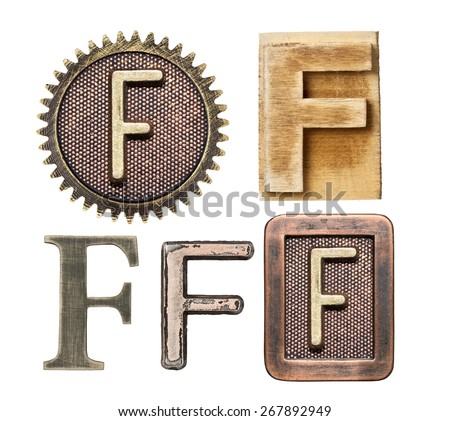 Alphabet made of wood and metal. Letter F - stock photo