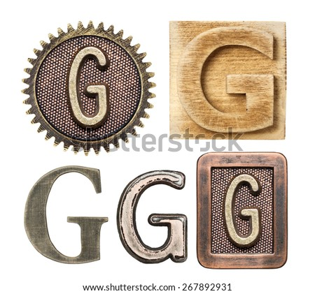 Alphabet made of wood and metal. Letter G - stock photo