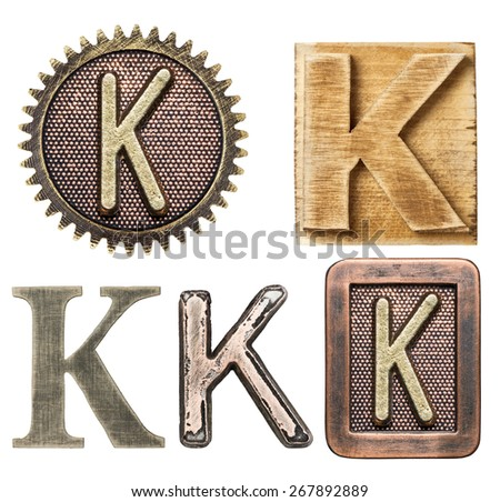 Alphabet made of wood and metal. Letter K - stock photo