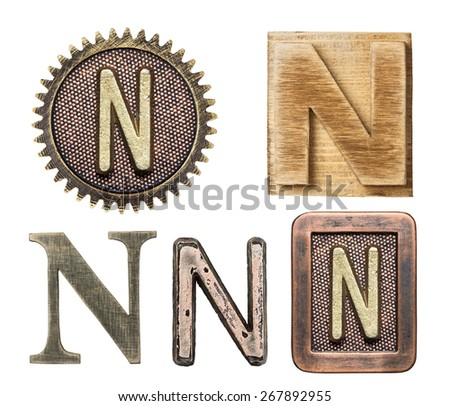 Alphabet made of wood and metal. Letter N - stock photo