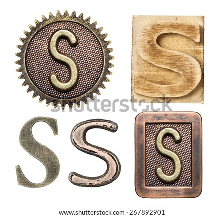 Alphabet made of wood and metal. Letter S - stock photo