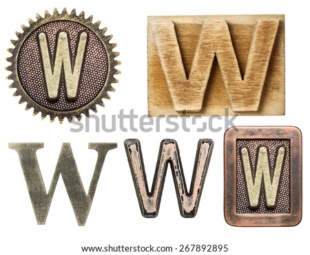 Alphabet made of wood and metal. Letter W - stock photo