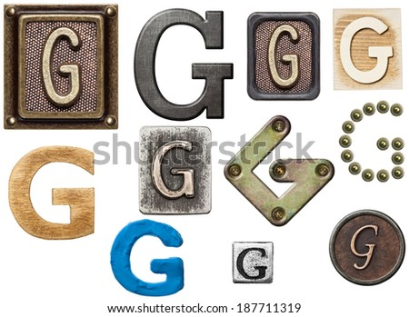 Alphabet made of wood, metal, plasticine. Letter G - stock photo
