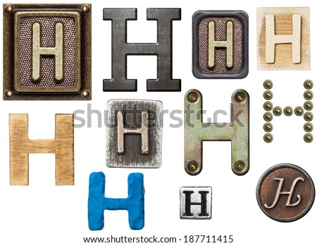 Alphabet made of wood, metal, plasticine. Letter H - stock photo