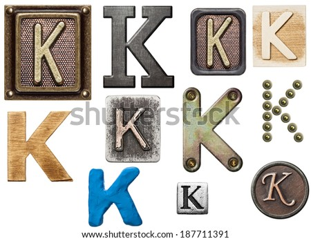 Alphabet made of wood, metal, plasticine. Letter K - stock photo