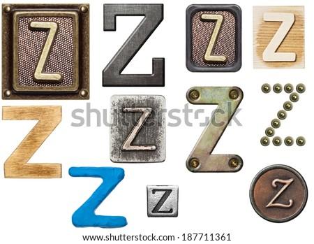Alphabet made of wood, metal, plasticine. Letter Z - stock photo