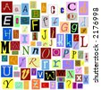 Alphabet Magazine Letters isolated so you can make your own unique words. TIFF file has individual layers. - stock photo