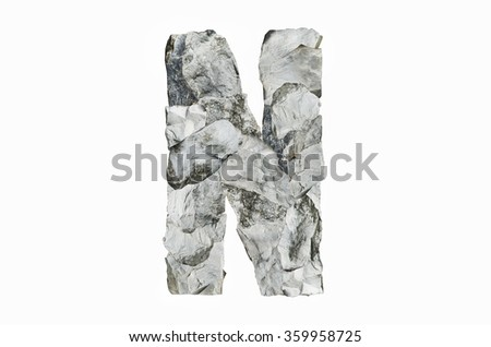 Alphabet N, created by a group of stone isolated on white background